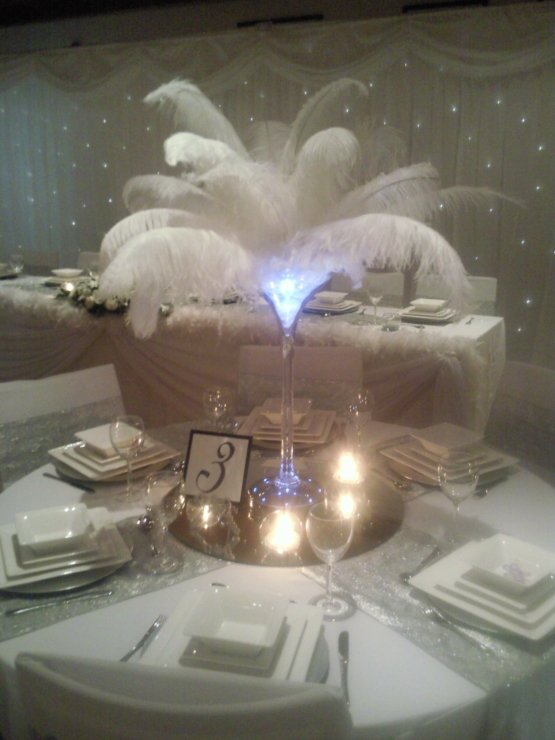 Martini glass with feathers lights and gel balls